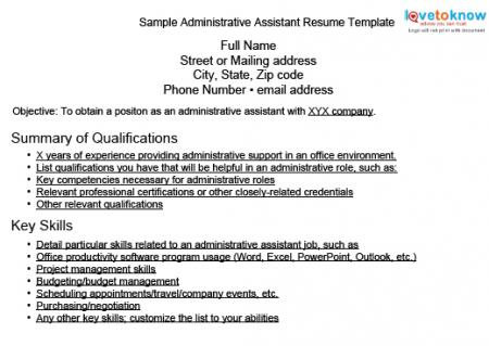 sample resume for administrative assistant skills