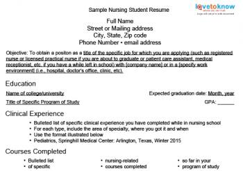 nursing student resume - Resume Samples For Nursing Students