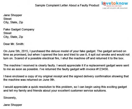Download a sample letter to complain about a faulty product.