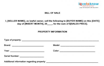 Bill of Sale Templates – Legal Bill of Sale Template