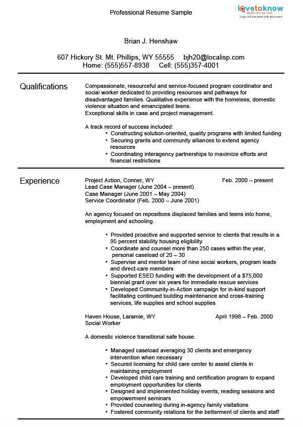 professional resume samples lovetoknow