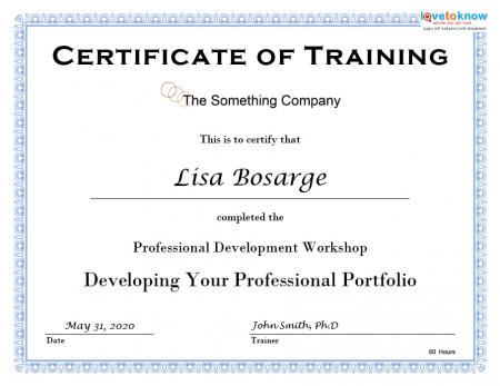 Sample Certificate Of Training Completion