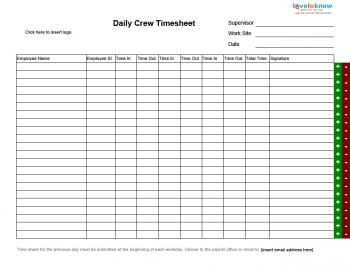 daily group timesheet