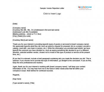 Business Letter Vendor Vendor rejection letter