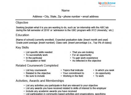 Sample Resume For A Student