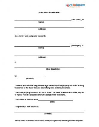 selling a business contract template - purchase agreement templates lovetoknow