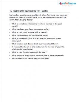 Good ice breaker questions for work
