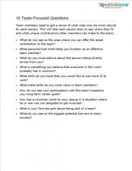 10 Team-Focused Questions