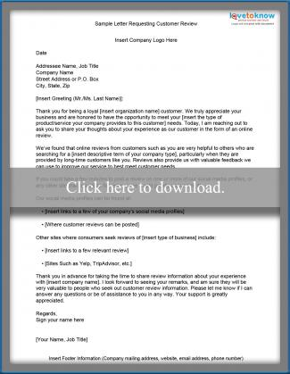 Sample document requesting reviews