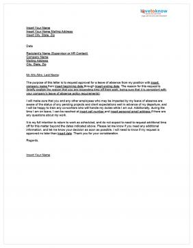 example annual leave request letter