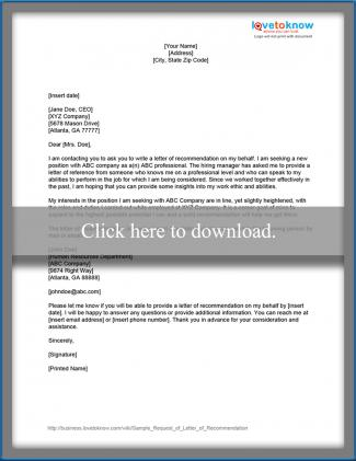 requesting a letter of recommendation template - sample request for a letter of recommendation lovetoknow