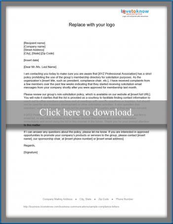 Non-compliance letter