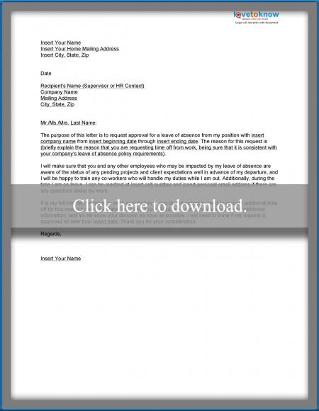 Download a sample leave of absence letter