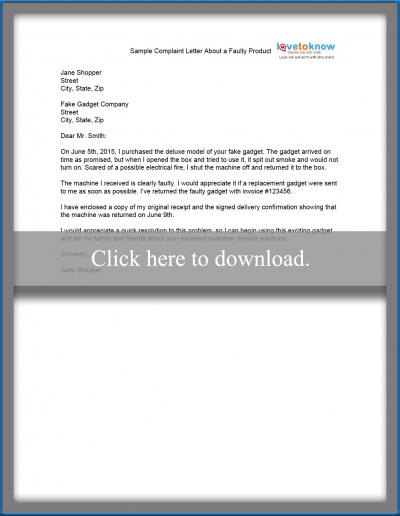 Sample complaint letter lovetoknow sample complaint letter about faulty product ccuart Gallery