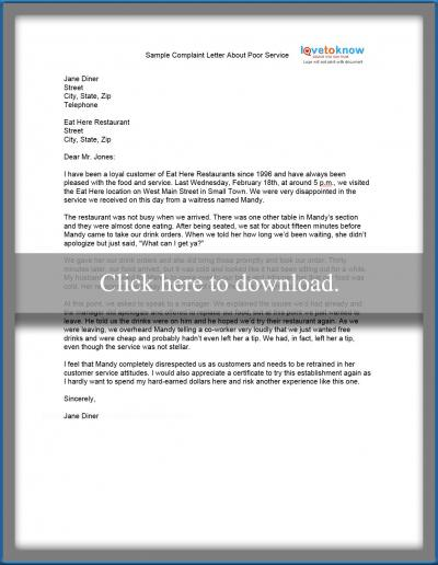 sample complaint letter about poor service