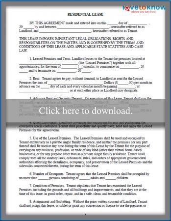 printable Residential Lease