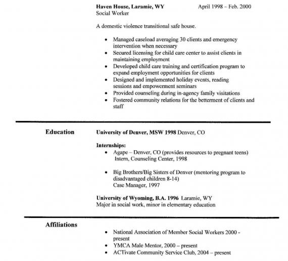 social worker example resume