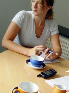 employee at meeting