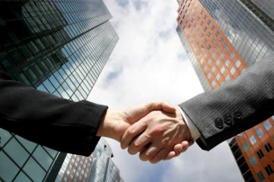 Shaking hands in business