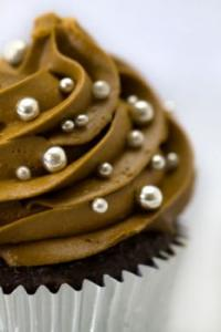 A large chocolate cupcake