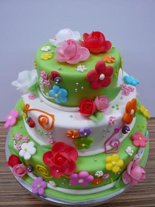 Cake Decorating Spring Flowers : Spring Fondant Cake LoveToKnow