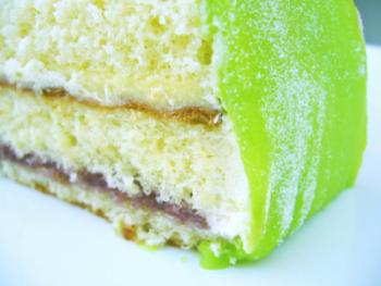Cake covered in green marzipan