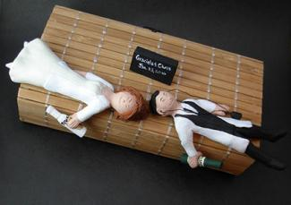 Drunk Bride and Groom Wedding Cake Topper