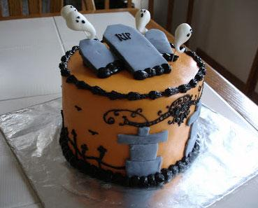 ghosts and graveyard cake