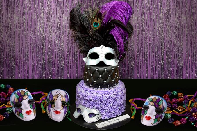 feathered masquerade cake