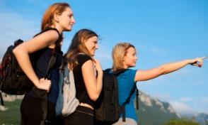 three girls hiking