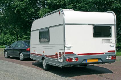 camper behind vehicle
