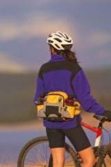 biker wearing a fanny pack