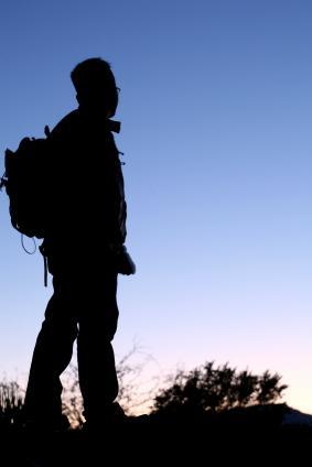 Male hiker in silhouette
