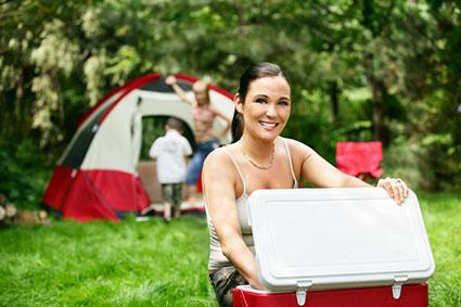 camping food in a cooler