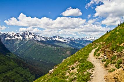 Mountain hiking trail in Glacier National Park
