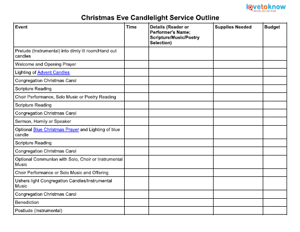 Christmas Eve Candlelight Service Outline