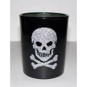 glass spooky black skull holder