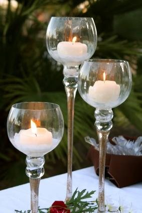 Outdoor candles create atmosphere.