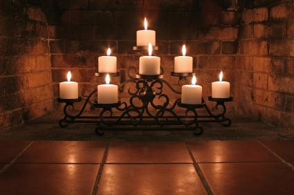 candelabra in fireplace