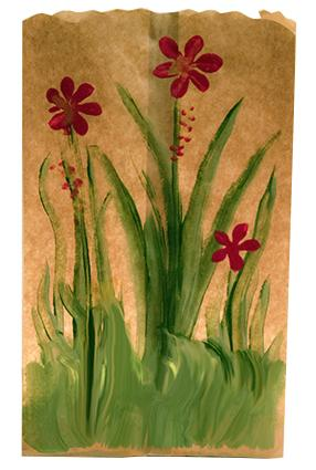 painted paper bag candle holder