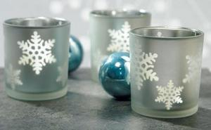 Laser Carved Glass Snowflake Candle Holders