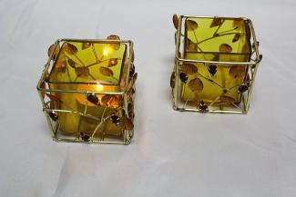 Gold Jeweled Beaded Indian Votive Holder
