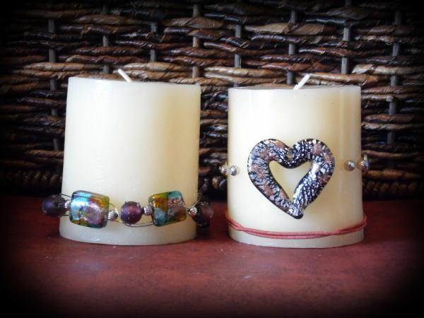 Two beaded candle holders