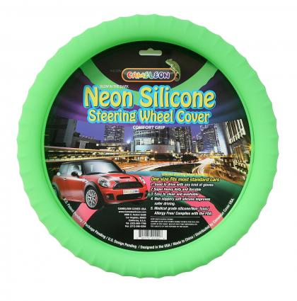 Glow-in-the-dark neon steering wheel cover by Cameleon Cover USA