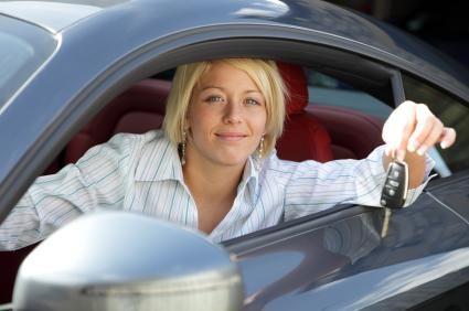 woman with new car