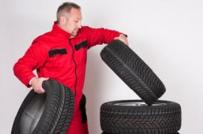 mechanic with tires