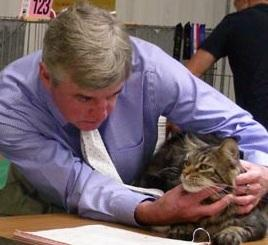 Paul Sandel judging a Maine Coon; Image used with Mr. Sandel's permission.