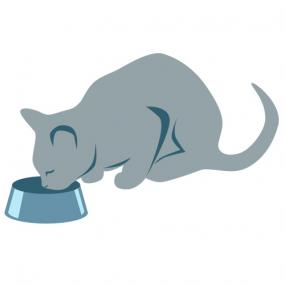 Cat having dinner clip art