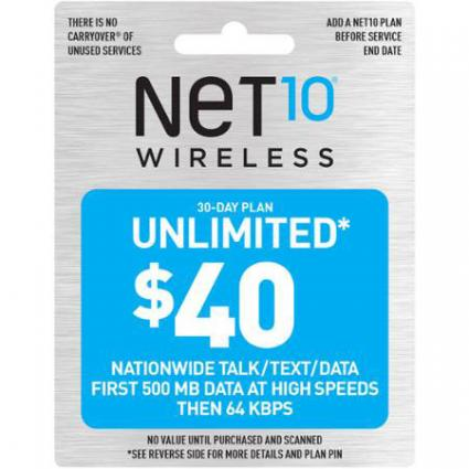 NET10 30-Day Monthly Service Plan