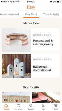 Screenshot of Etsy Mobile Shopping App